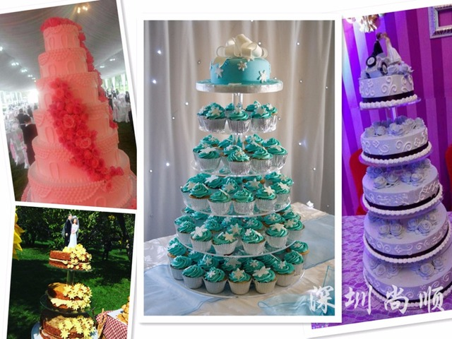 Free Shipping High 16inch 1set 5 Tiers Birthday Cake Display Stand