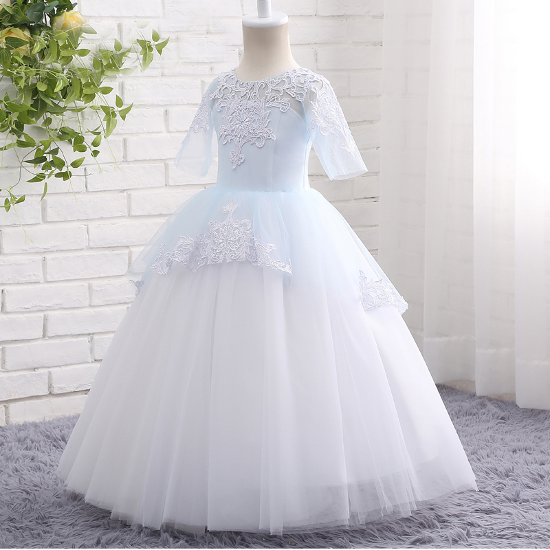 Lace Flower Girl Dresses for Wedding Long Mother Daughter Dress Ball Gown First Communion Dresses for Girls Pageant Dress lovely pink ball gown short flower girl dresses 2018 beaded pearls first communion dresses for girls pageant dress
