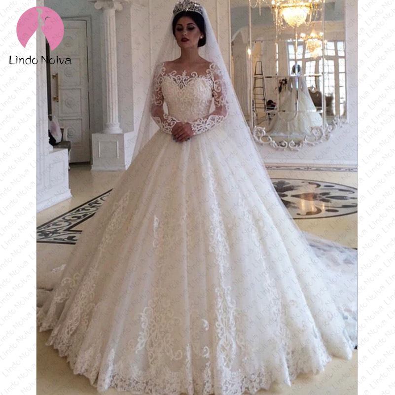 Casamento Luxury Long Sleeves Lace Wedding Dresses 2019 Scoop Luxury Puffy Ball Gowns For Bridal Vestido