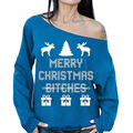 christmas jumper off shoulder sweatshirt merry Christmas Bitches Letters Print Snowflake Tops women clothes DM#6
