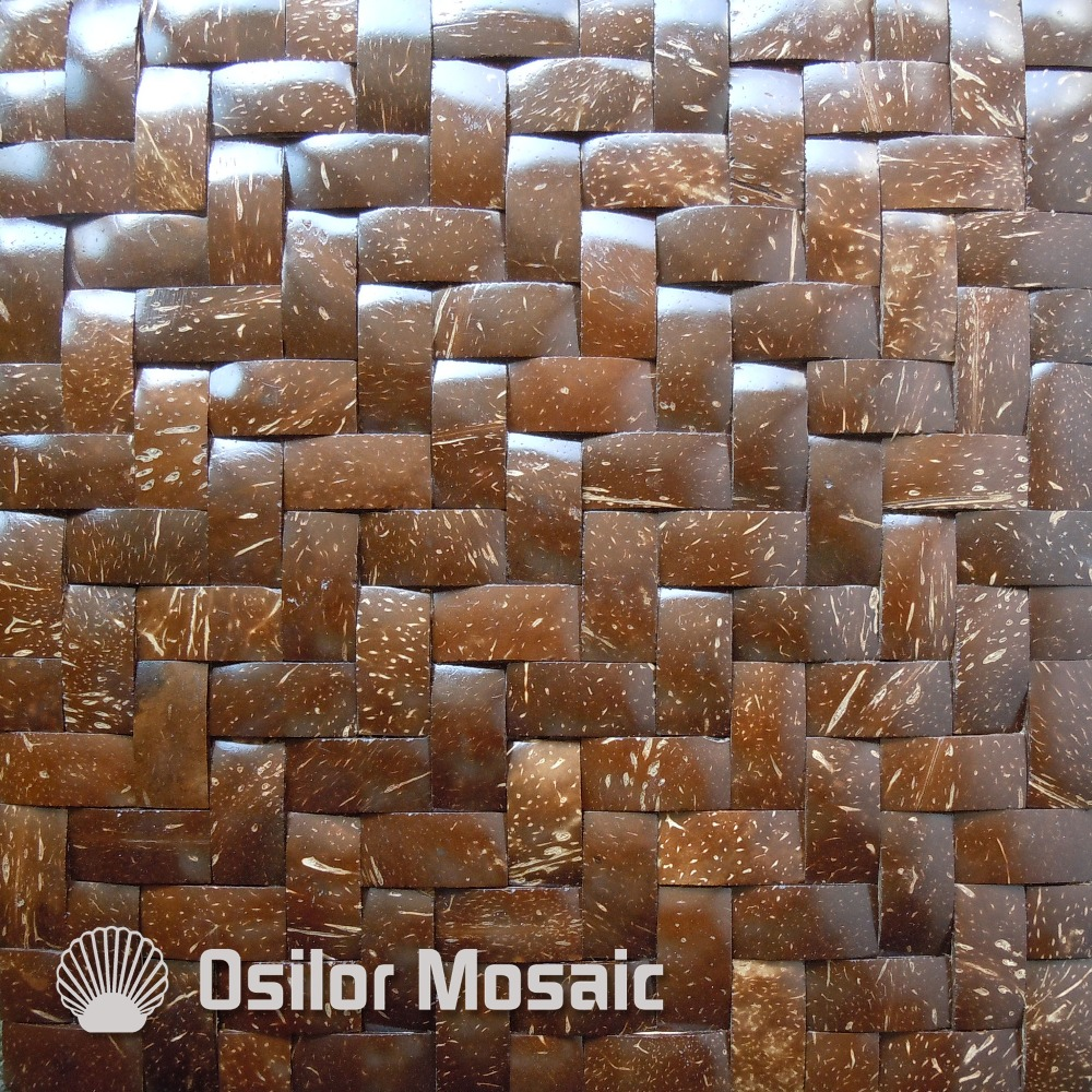 Wall tile buy cheap stone wall tile lots from china stone wall tile - Natural 100 Coconut Shell Mosaic Tile For House Decoration Southeast Asia Style Wall Tiles For