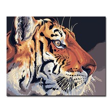 The Tiger Stared Ahead Picture By Numbers Kits Hand painted Style On Linen Canvas Home Decorative Unique DIY Animal Painting