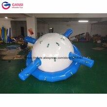цена на 0.9mm PVC Tarpaulin blue floating water spinner rocker toys Inflatable water saturn for aqua park