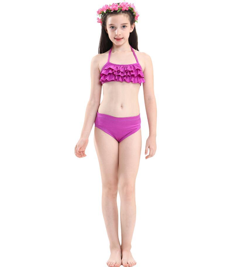 2019 New Girls Mermaid Tail For Swimming Costume Mermaid 3 piece Bikinis Bathing Set Tops Bottoms Children Summer Swimming Dress