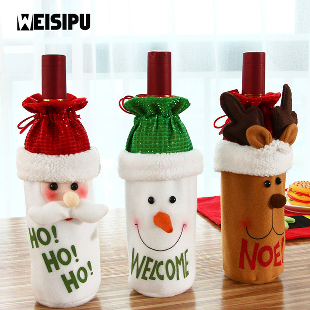 weisipu 1pcs cute red wine bottle cover bags christmas decoration home party santa claus christmas table