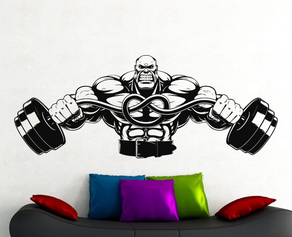 Large Gym Wall Decal Fitness Stickers Sports Room Wall ...