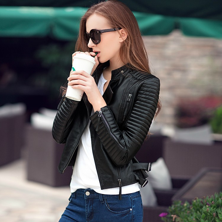 Fashion Slim Coat Stock High Street Locomotive Suit Lady New Autumn Turn-down Collar PU   Leather   Jacket Zipper Pocket Women
