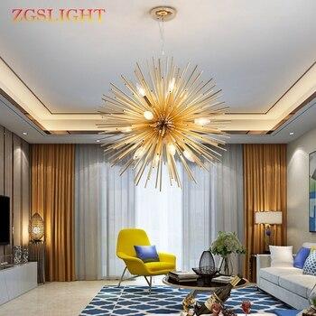 Nordic Modern Artistic LED Aluminum Dandelion Chandelier Golden Hanging Lamps Decorative Fixture Lighting Led Home Lights