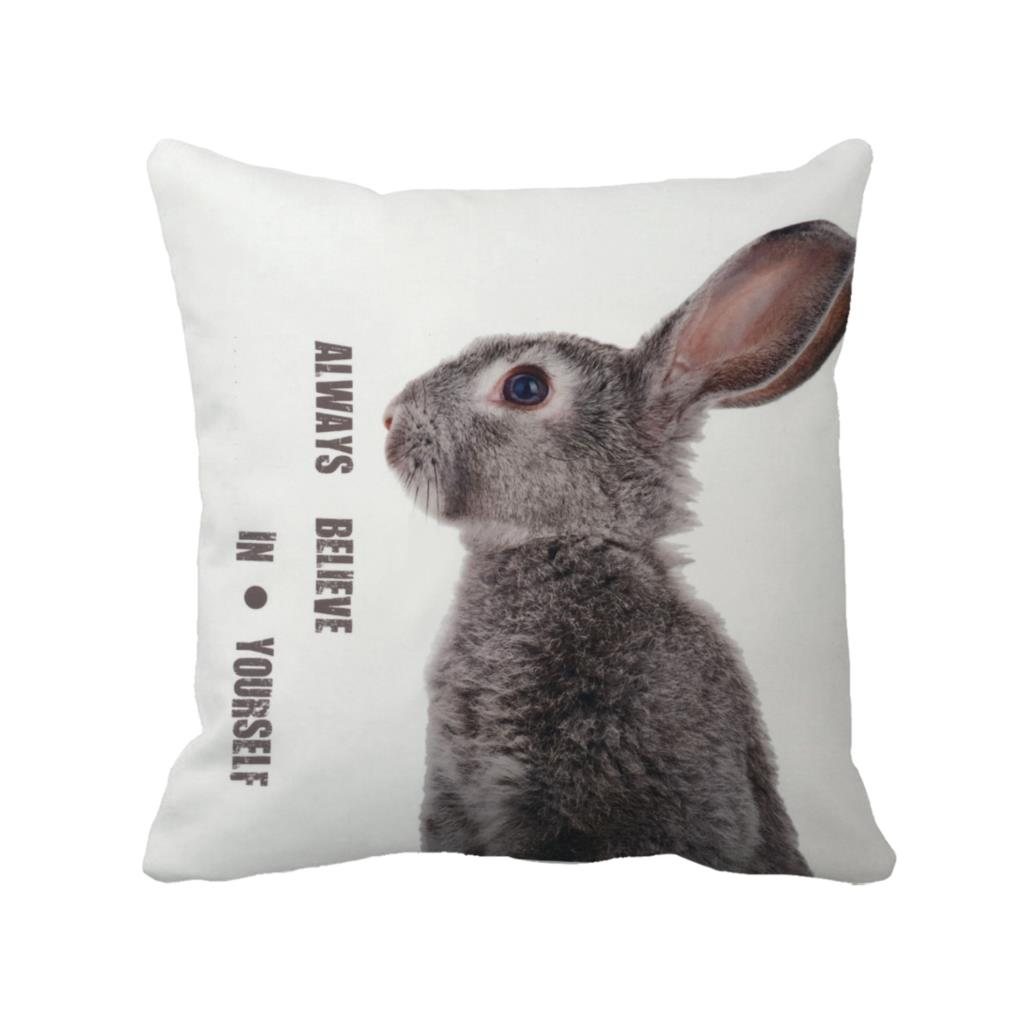 cute gery rabbit with letter always believe in yourself printed custom white cushion cover animal decorative throw pillow case