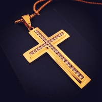 Hip Hop Style Cross Pendant 18k Yellow Gold Filled Mens Crucifix Pendant Chain With Cubic Zirconia