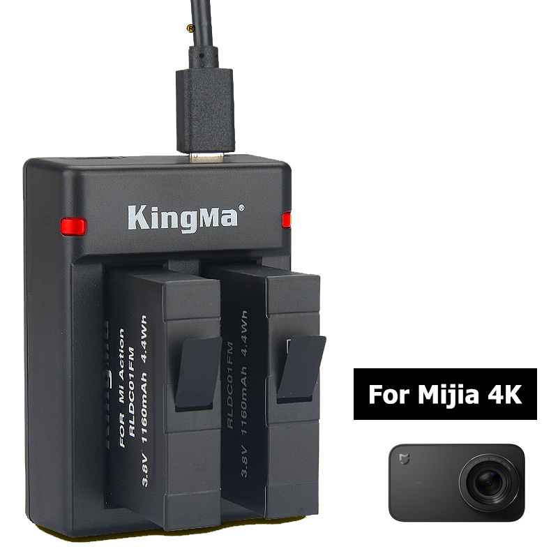 2 piezas 1160 mAh batería recargable con cargador para xiaomi mijia 4 K cámara de acción deportiva RLDC01FM batería
