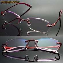 Luxury British Lady Diamond Cutting 100% Titanium Alloy Rimless Frameless Reading Glasses + Box +0.75 +1 +1.75 +1.5 +2 to +4(China)