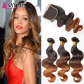 Ombre Brazilian Body Wave With Closure 8A Brazilian Virgin Hair With Closure Three Tone Ombre Weaves Human Hair With Closures