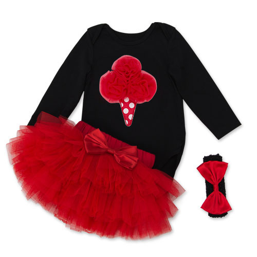 Festival Baby Clothing Set Red Love Black Baby Rompers 4 layer tutu Skirt Dot Headband Cute Girls Valentine's Day Bow Headband