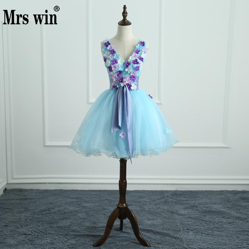 Quinceanera Dresses Mrs Win Luxury Sweet Flowers 3 Colors Party Prom V neck Ball Gown Fashion
