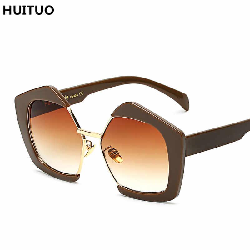 HUITUO العلامة التجارية تصميم أزياء كبير مربع شخصية نصف إطار النظارات الشمسية عالية الجودة الرجعية النظارات الإناث Oculos دي سول UV400