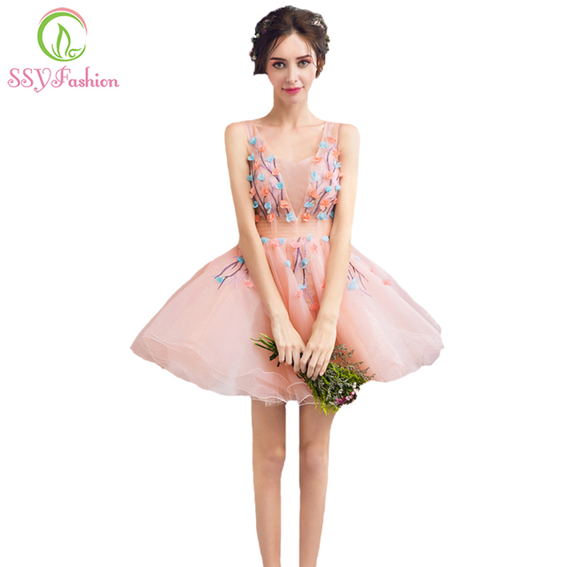 Ssyfashion 2017 New Sweet Pink Lace Flower Cocktail Dress Young Girl