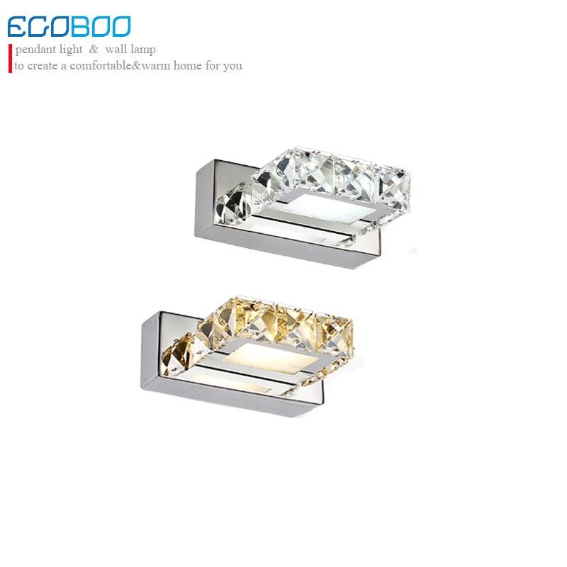 Style européen moderne 3 W 16 cm long une lumière cristal salle de bain LED miroir lumière maison carré abat-jour décoratif meubles lumière