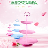 3 tiers cake stand handle cupcake pink color metal party stands