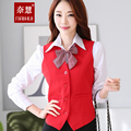 2015 Autumn Formal Female Vest Women Work Wear Waistcoat Ladies Office Uniform Styles Elegant Black and Red Free Shipping