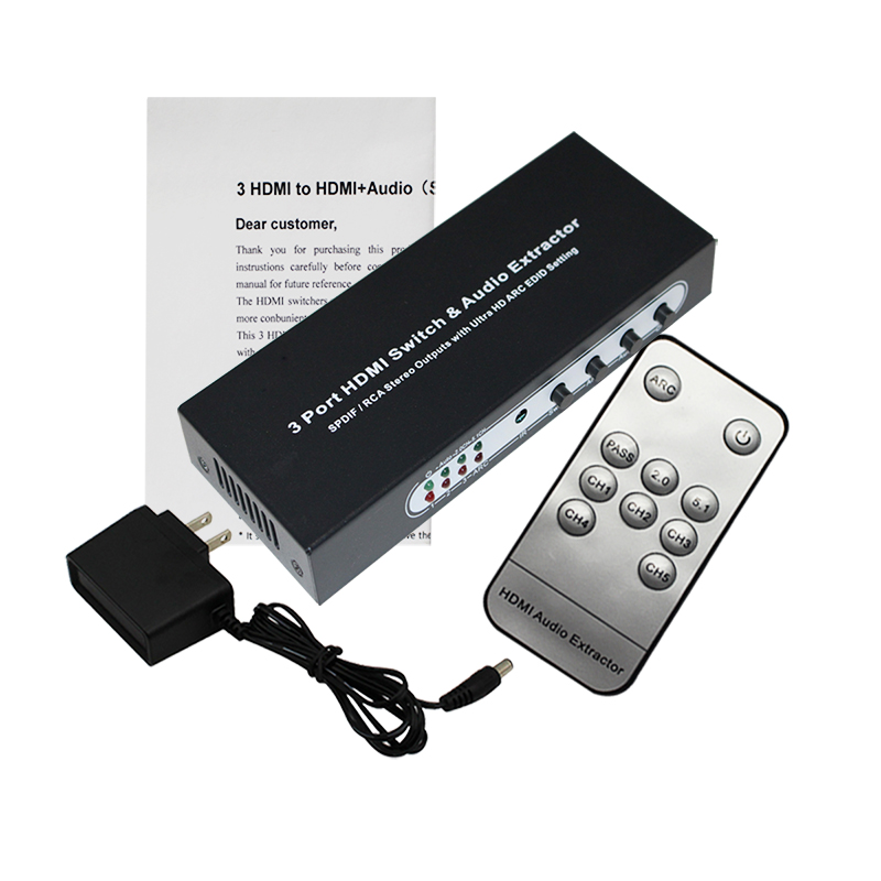 3 Port HDMI <font><b>Switch</b></font> with Optical Toslink SPDIF & <font><b>RCA</b></font> L/R Audio Out, 3x1 HDMI Audio Extractor Splitter with <font><b>Remote</b></font>, Supports 4K*2K image
