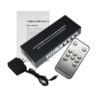 3 Port HDMI Switch with Optical Toslink SPDIF & RCA L/R Audio Out, 3x1 HDMI Audio Extractor Splitter with Remote, Supports 4K*2K