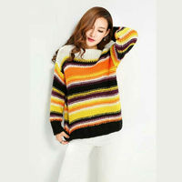 Sutue Mujer O Neck Long Sleeve Rainbow Striped Ugly Sweater Women Pullover Knitted Casual Winter Korean Jumpers gros pull femme