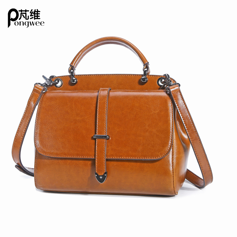 PONGWEE Women Ladies Small Shopping Bag Shoulder Messenger Crossbody Bag New High Quality Genuine Leather Bags Pattern Handbags japanese pouch small hand carry green canvas heat preservation lunch box bag for men and women shopping mama bag