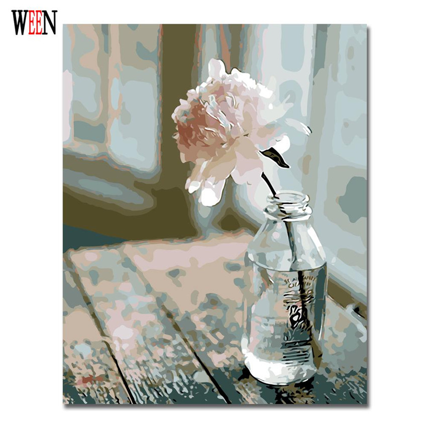 WEEN One Flower Pictures By Numbers On Canvas DIY Elegant Digital Oil Painting Coloring By Numbers Home Decor Art Gift Poster