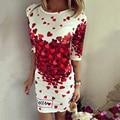 Новый 2017 Весна Лето Платья Женщин Sexy Party Club Bodycon Оболочка Элегантный Casual Dress Печати Красное Сердце Lovely Платья