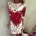 Nueva primavera verano 2017 vestidos de las mujeres atractivas del club del partido vaina bodycon elegante casual dress vestidos de impresión corazón rojo lovely