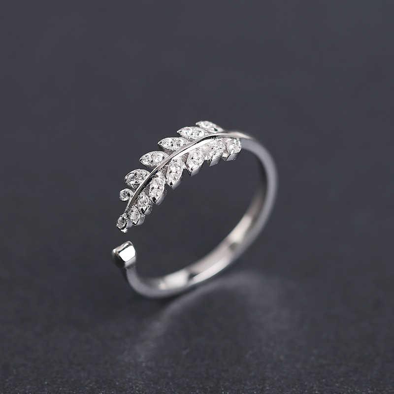 จริง 925 - Sterling - Silver แหวนออกแบบใหม่ใบหญิงแหวน Rose Gold สีปรับขนาดได้