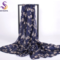 [BYSIFA] Winter Navy Blue Ladies Silk Scarves Shawl New Design Daisy Long Scarves Wraps 200*110cm Large Size Summer Beach Cape