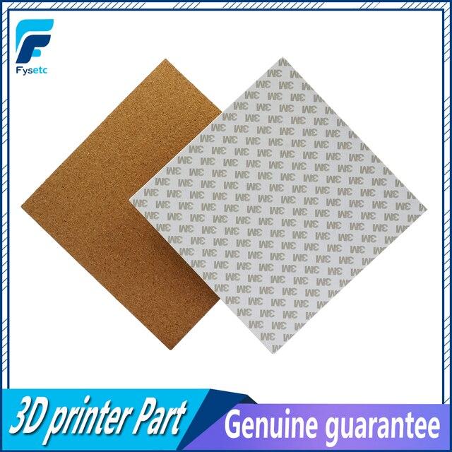 2 piezas 3D impresora cuadrado/200/220/300mm 3mm L adhesivo de hojas para Prusa i3 placa caliente de cama calentada con cinta de corcho térmico