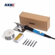Free shipping 220v 60w electric iron set temperature adjustment welding torch weld rework tool soldering head EU Style AXK