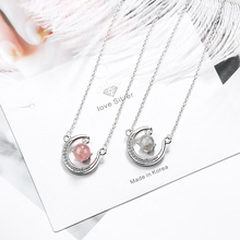 KOFSAC Latest 925 Sterling Silver Necklaces For Women Jewelry Elegant Crystal Pink Ball CZ Moon Necklace Girl Party Accessories