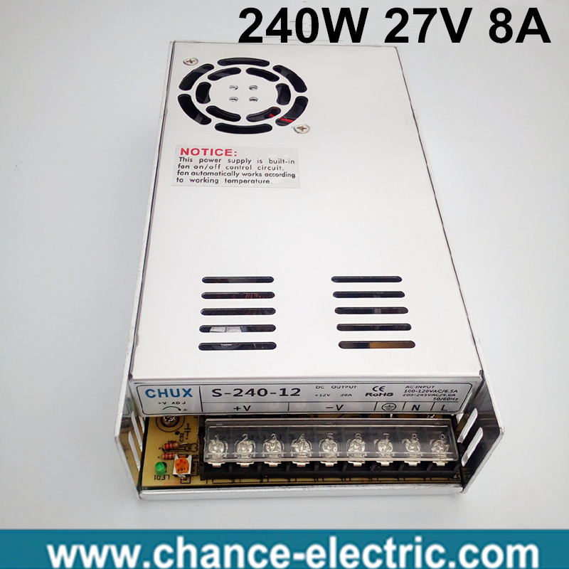 27 volt power supply 110V 220V AC to 27V DC 8A 240W single output 27v Switching Power Supply for LED Strip free shipping allishop 300w 48v 6 25a single output ac 110v 220v to dc 48v switching power supply unit for led strip light free shipping