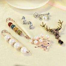 Large Pearl Deer Pins Straps Anti Slip Pin Korean Simple Brooch Womens Accessories Cardigan Wearing Jewelry