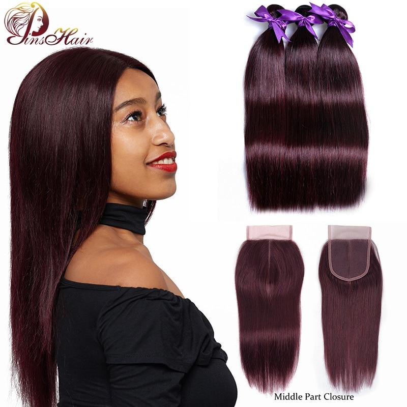 Pinshair Burgundy Bundles With Closure Red 99J Peruvian Straight Hair 3 Bundles With Closure Human Hair Weave Bundles Non-remy