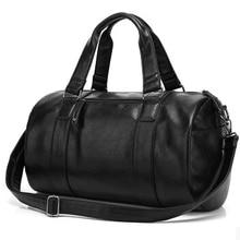 Famous brand leather men's duffle fashion barrel male large weekend hand luggage men travel bag shoulder bags maletasTB00028