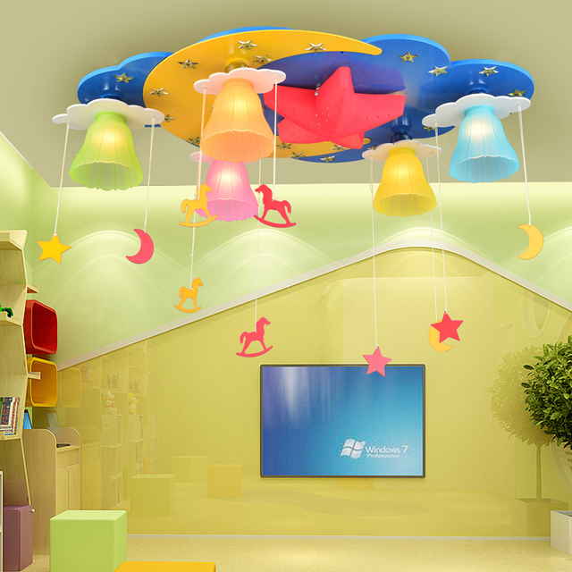 kinderzimmer licht schlafzimmer sterne mond cartoon einfache nette m nnliche m dchen. Black Bedroom Furniture Sets. Home Design Ideas