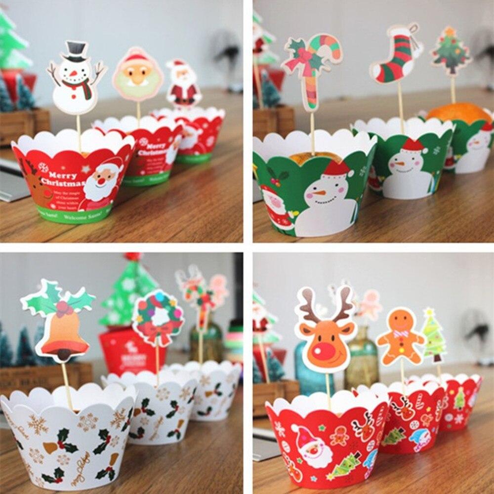 Image 4 - 24 ピースケーキトッパー   カップケーキラッパージンジャーブレッドマンサンタ鐘クリスマス装飾用好意ケーキ装飾    グループ上の ホーム