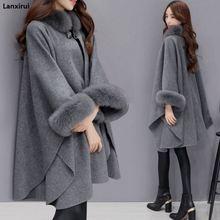 Пончо и накидки для женщин Рождественская мода с расклешенными рукавами воротник из искусственного лисьего Меха Зимняя шерстяная накидка пальто пончо длинное пальто