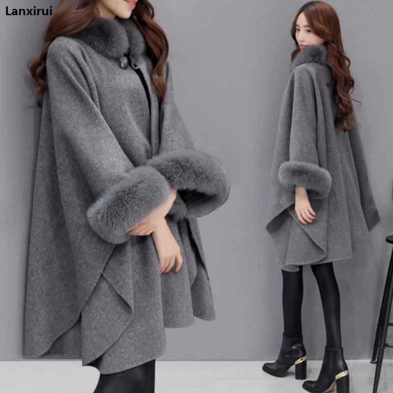 Ponchos and Capes Women 2018 Christmas Fashion Flare Sleeve Faux Fox Fur Collar Winter Wool Cloak Cape Coat Poncho Long Overcoat