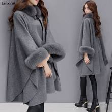 Poncho en Capes Vrouwen 2018 Kerst Mode Flare Mouw Faux Vos Bontkraag Winter Wollen Mantel Cape Jas Poncho Lange overjas(China)