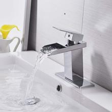 MOIIO New Basin Faucet Deck Mounted Waterfall Outlet Bathroom Single Handle Lavatory Sink faucet