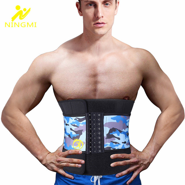 NINGMI Neoprene Waist Trainer Body Shaper for Men Corset Slimming Underwear Girdle Cincher Belt with Phone Pocket Slim Shapewear