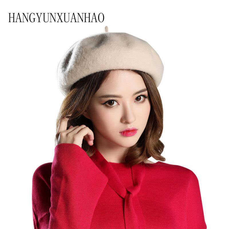 HANGYUNXUANHAO New Rabbit Hair Beret Female Qiu Dong Season Tide Joker Painter Wind Octagonal Cap In Engl Hat in Women 39 s Berets from Apparel Accessories