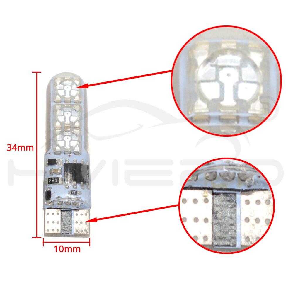 Hviero 2X T10 Silica Gel RGB w5w LED with Remote Controller RGBW 501 194 168 6SMD 5050 Strobe Car Wedge Side Light DC 12V Car Bulbs
