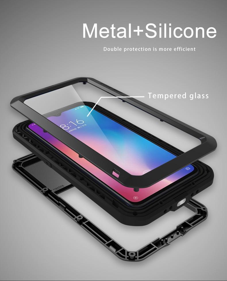 For Xiaomi Mi9 Explorer Case LOVE MEI Shock Dirt Proof Water Resistant Metal Armor Cover Phone Case for Xiaomi Mi 9 6.39 inch